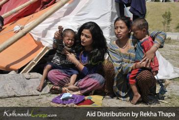 Aid Distribution to Earthquake Victims by Rekha Thapa and Him Gyap Lama