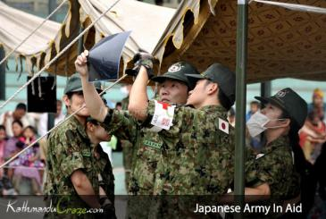 Japanese Army in Aid of Earthquake Victim